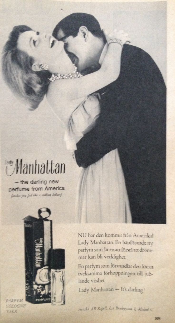 Äntligen! Lady Manhattan - the darling new perfume from America. En parfym som förvandlar den första tveksamma förhoppningen till jublande visshet. The perfume that transforms the initial hesitant hope to glorious certainty. Femina 1963.