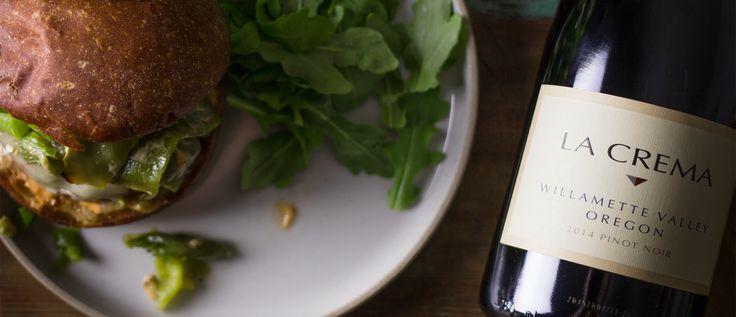 Roasted Hatch Chile Burger via La Crema food blog