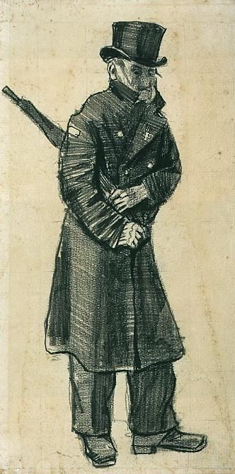 Vincent van Gogh: Orphan Man with Top Hat and Umbrella Under his Arm  The Hague: September-October, 1882 (Otterlo, Kröller-Müller Museum)