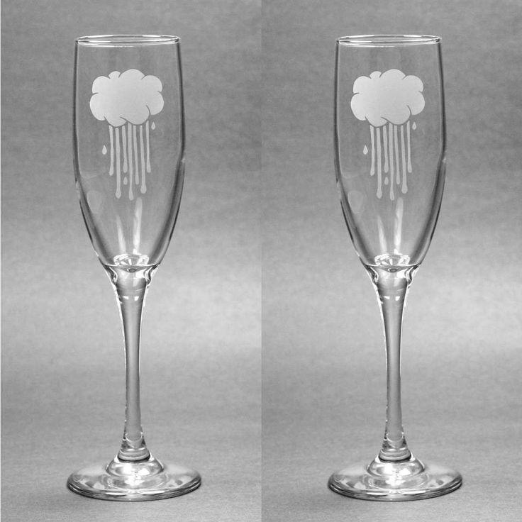 Rain Cloud Champagne Flute