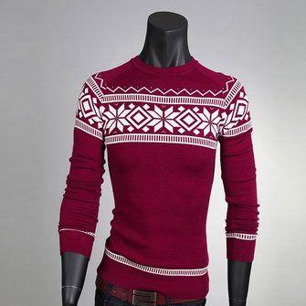 Men Fashion Sweater Crew-Neck Retro Patterns Pullover Knitwear at Banggood