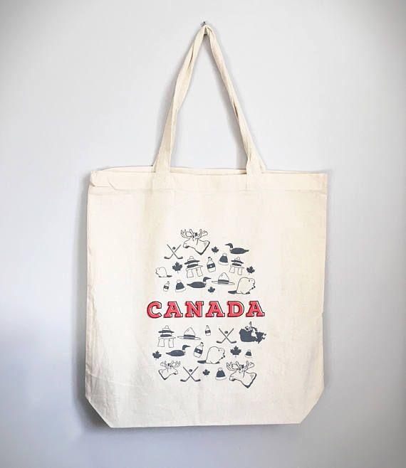 Canada Tote Bag   Canada 150   Cotton Tote Bag   Cotton Market Bag   Farmers Market Bag   Reusable Bag   Screen Printed Tote