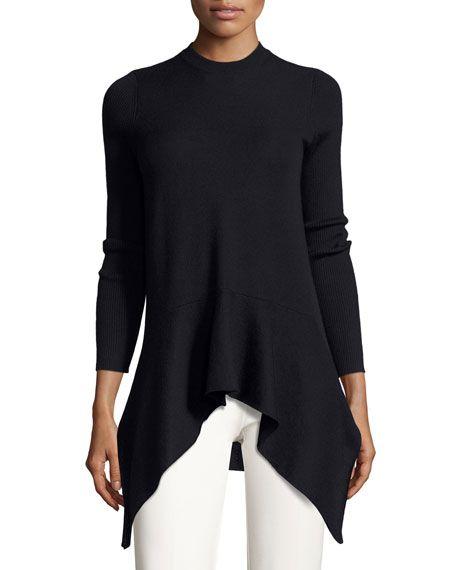 DEREK LAM Long-Sleeve Crewneck Asymmetric Sweater, Navy. #dereklam #cloth #