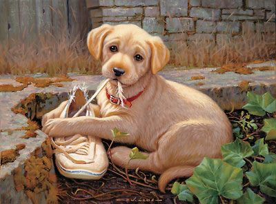 Missing Shoe Ii Yellow Lab Puppy Painting By Jim Lamb Mans Best