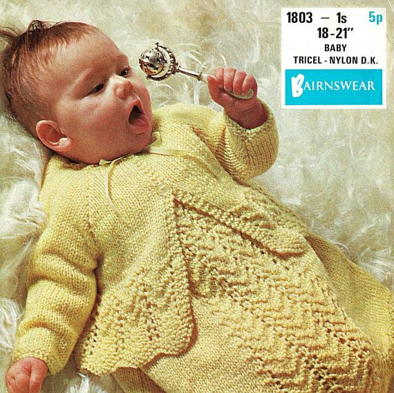 PDF Vintage Baby Knitting Pattern Lacy Angel Dress & Matinee