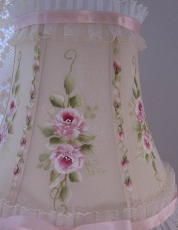 roses on lampshade - cottage