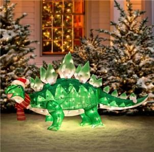 5 foot lighted pre lit animated christmas stegosaurus dinosaur outdoor decor ebay lawn ornamentschristmas - Lighted Christmas Lawn Decorations