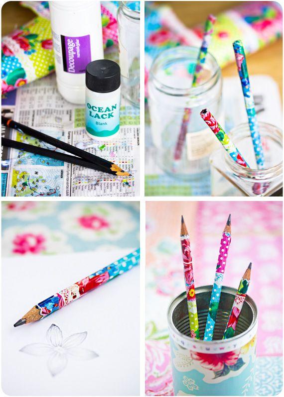 pencils: Crafts Ideas, Custom Pencil, Schools Pencil, Creative, Decoupagem Ems, Lapis Personalizado, Decoupage Pencil, Diy Illness, Paper Crafts