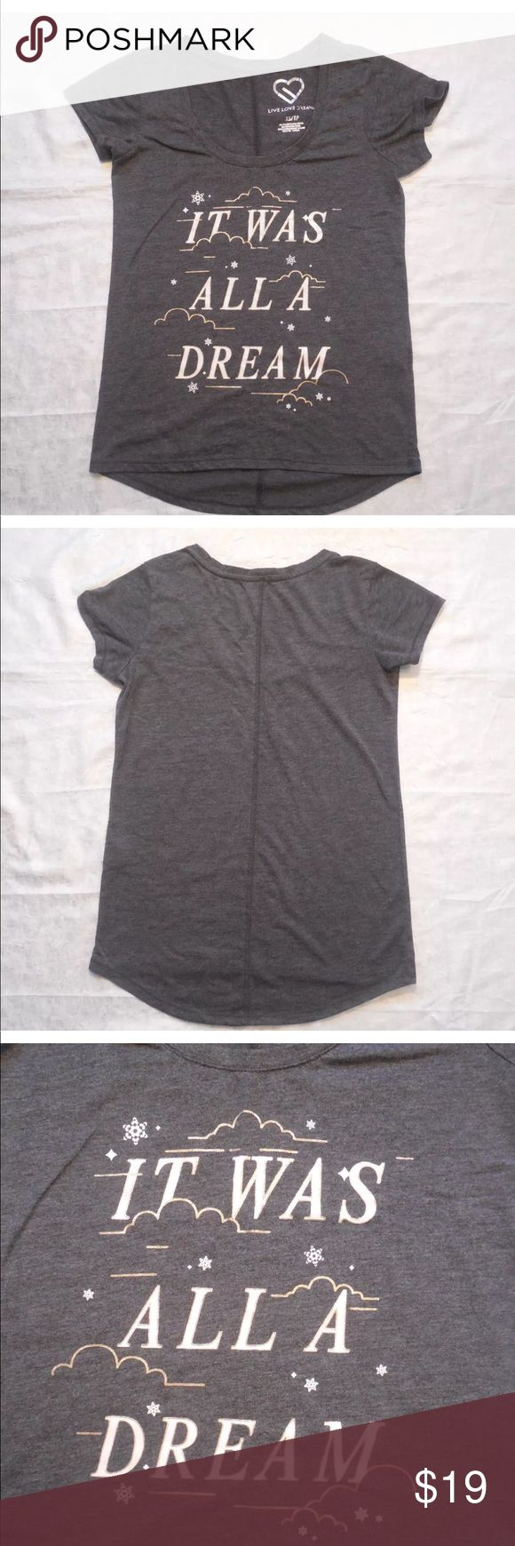 """⬇️ Aeropostale It was all a Dream XS gray tee top Pre loved Aeropostale """"It was all a Dream"""" gray tee shirt  juniors top. Size XS. Check out my closet, we have a variety of women's, Pink VS Victoria Secret, handbags  purse  Aerosoles, shoes  sandals, Gold, silver, black chocker, fashion jewelry, necklace, dresses, tops, blouse, skirts, bags, leggings, pants, makeup, Beauty & more... Fast shipper. Smoke & Pet-Free.  Don't forget to bundle & save! Offers 30% OFF discount. Always a FREE GIFT…"""