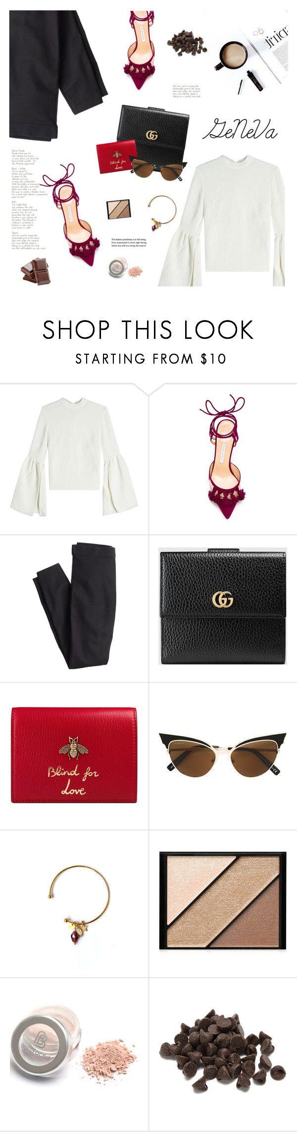 """Geneva Travel Outfit"" by tamo-kipshidze ❤ liked on Polyvore featuring Rejina Pyo, Bionda Castana, J.Crew, Gucci, Dsquared2, Elizabeth Arden, chocolate, Europe, Switzerland and geneva"