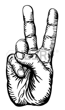 a black and white illustration of the human hand giving the victory salute or peace sign. Stock Photo - 8486458