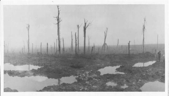Passchendaele, now a field of mud. The Battle of Ypres. Belgium. November 1917