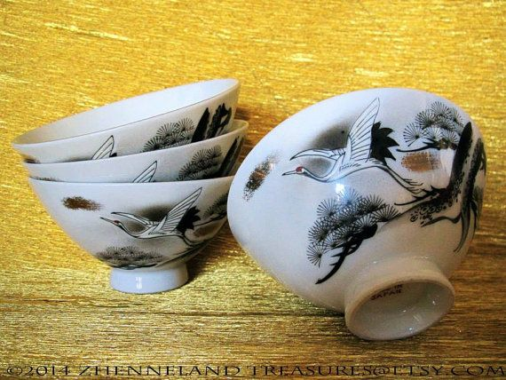 Set of 4 Japanese PORCELAIN BOWLS for Soup or Rice/ Crane in Flight/ Made in Japan/ Grey, Black, White with Gold Accents/ Asian Dinnerware