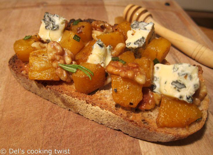 ** Tartine Potimarron Noix et Bleu d'Auvergne ~ Del's Cooking Twist ** http://www.delscookingtwist.com/