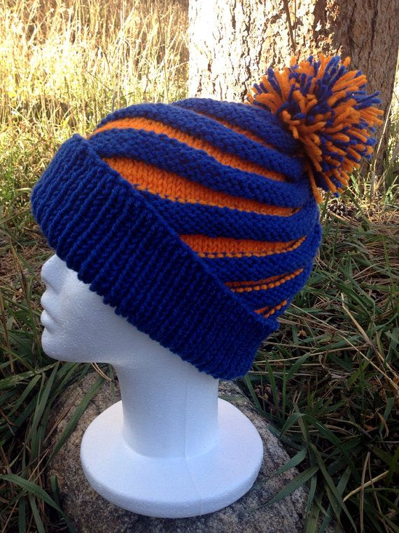 Knitted Blue and Orange Swirl Pom Pom Hat Denver Broncos ...