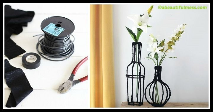 Learn to make an easy Decorative Wire Vases by following this how to DIY tutorial. Grab the tools (electrical wiring and tape, fabric) and get creative!