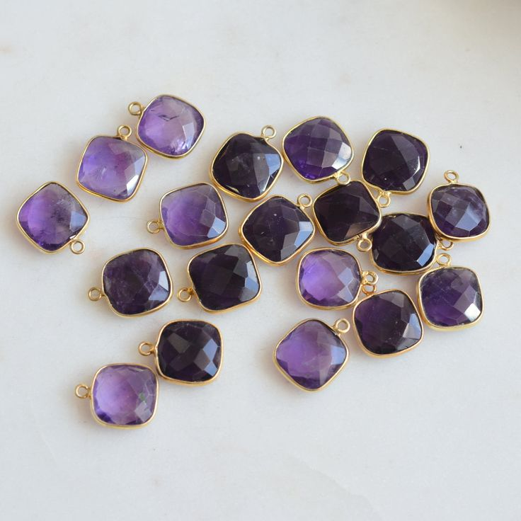Square Faceted Amethyst Charms, Gold Vermeil Bezel Setting, Square Amethyst Charms, Gold Bezel Charm, Gemstone Charms, Pairs, SARS17-0112J by WanderlustWorldArts on Etsy