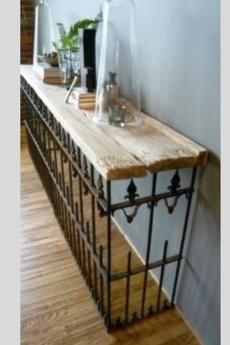 Iron gate and barn board as table