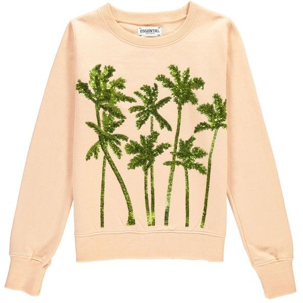 Sequin embroidered cotton sweatshirt (2.071.480 IDR) ❤ liked on Polyvore featuring tops, hoodies, sweatshirts, beige top, sequin embellished top, beige sweatshirt, embroidery top and sequin top