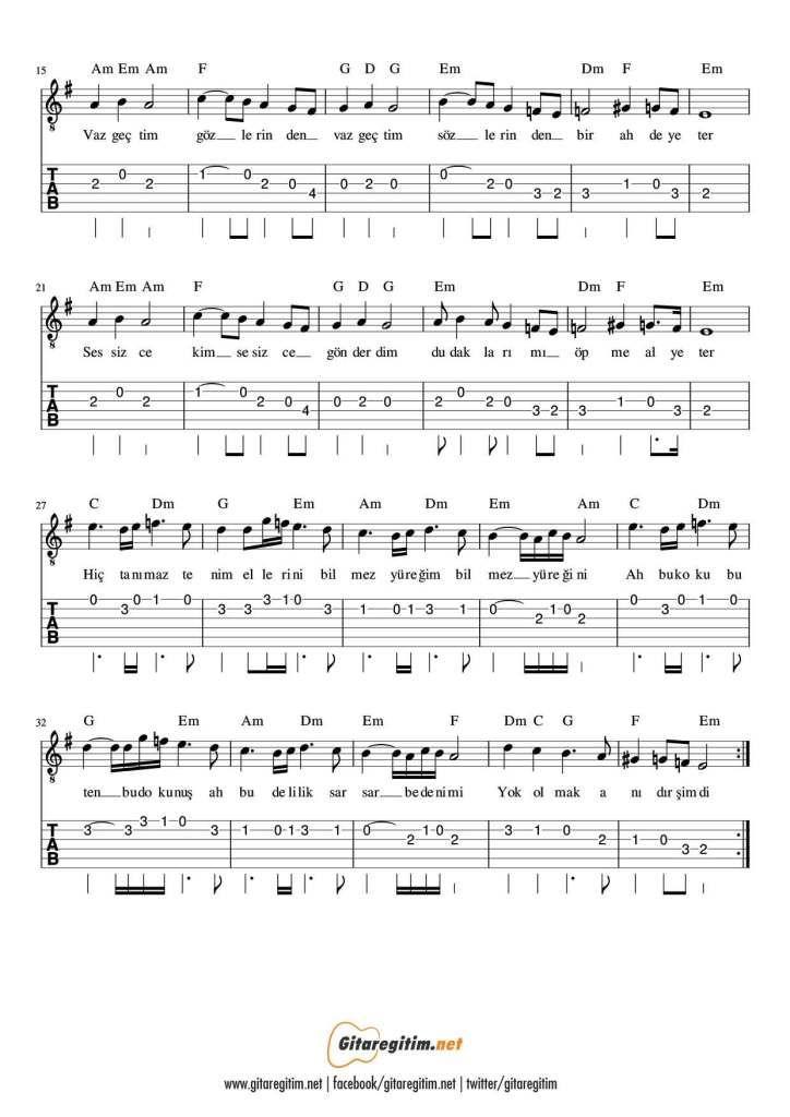 Sezen Aksu Vazgectim Gitar Nota Tab Gitaregitim Net Gitar Notalara Dokulmus Muzik Muzik Notalari