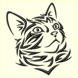 Tribal Cat Machine Embroidery Design