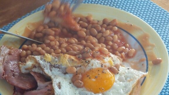 """Big """"Hardie"""" breakfast... Building up for the big game tonight"""