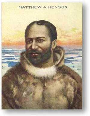 Matthew Henson (August 8, 1866 - March 9, 1955) is reputedly the first non-Inuit to set foot on the North Pole, 45 minutes ahead of expedition leader Robert Peary whom Henson served for 23 years as navigator, craftsman, and interpreter. Henson received little recognition at the time and worked the next 30 years as a customs clerk in New York City. He was recognized by Congress in 1944 and in 1988 was reinterred in Arlington National Cemetery. #TodayInBlackHistory