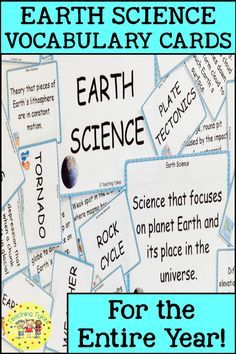 Earth Science Vocabulary https://www.teacherspayteachers.com/Product/Earth-Science-Vocabulary-Cards-3294064