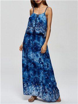 Robe Maxi à Bretelle Bleu Tie-Dye