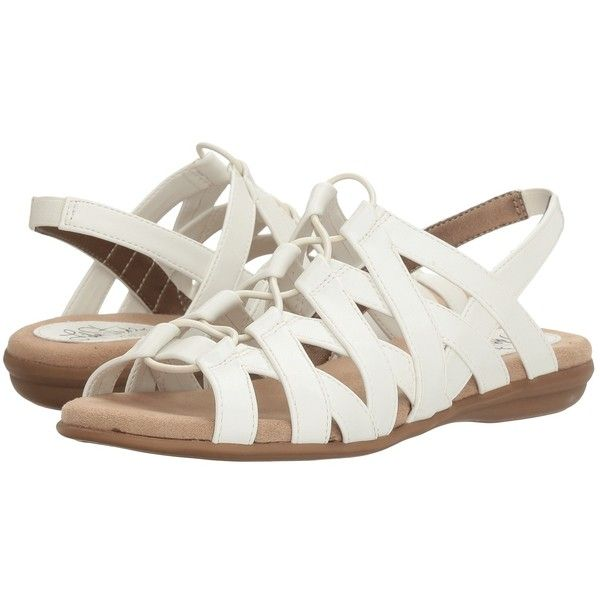 LifeStride Behave (White) Women's Sandals (275 HKD) ❤ liked on Polyvore featuring shoes, sandals, white strap sandals, white lace up sandals, elastic strap sandals, white sandals and white gladiator sandals