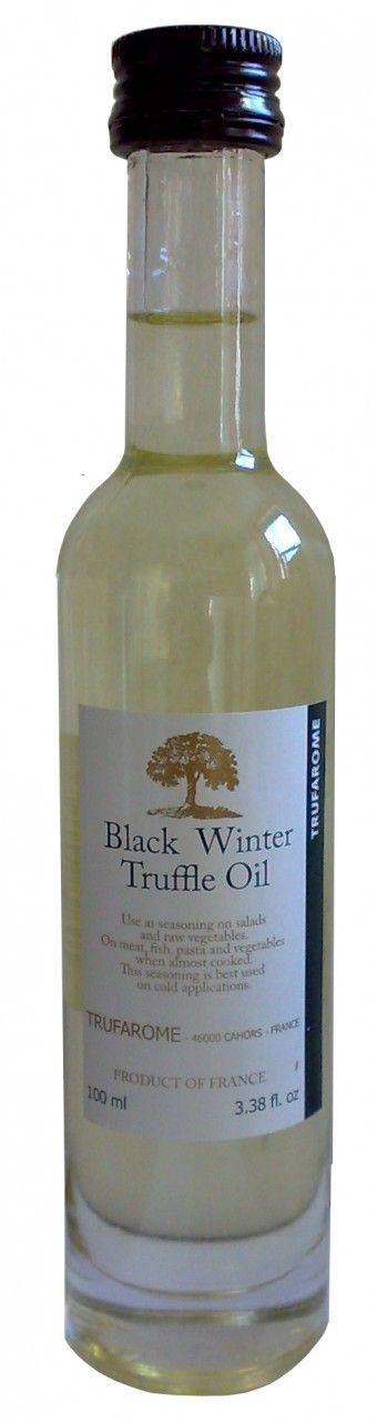 BLACK WINTER TRUFFLE OIL $9.90 A few drops of this sunflower oil infused with the powerful aroma of black winter truffle (tuber melanosporum) will add a refined and sensual touch to your dishes. The unique flavor of black winter truffle will be best preserved if you do not heat it. Add at the last minute to risotto, pasta, or egg dishes.  Trufarome belongs to la maison Pébeyre, founded in small village of Southwestern France in 1897. Pébeyre, family-owned and run... 100 ml / 4 fl oz