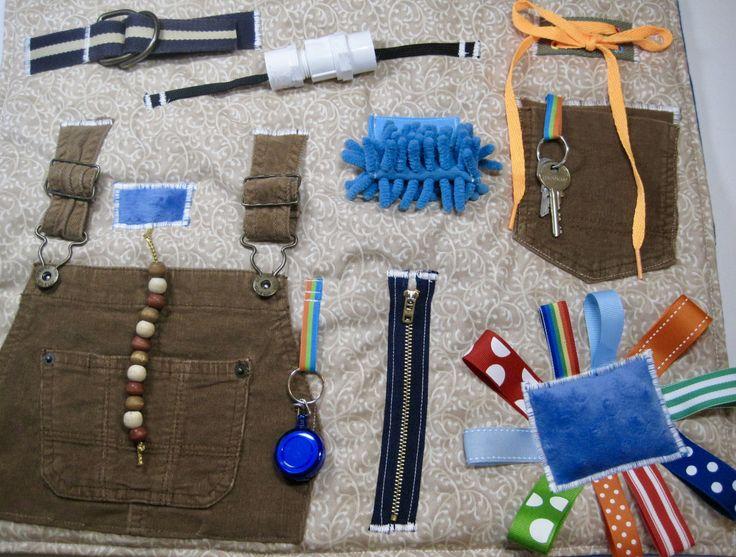 Masculine Corduroy Bib Overalls Fidget, Sensory, Activity Quilt Blanket by TotallySewn on Etsy