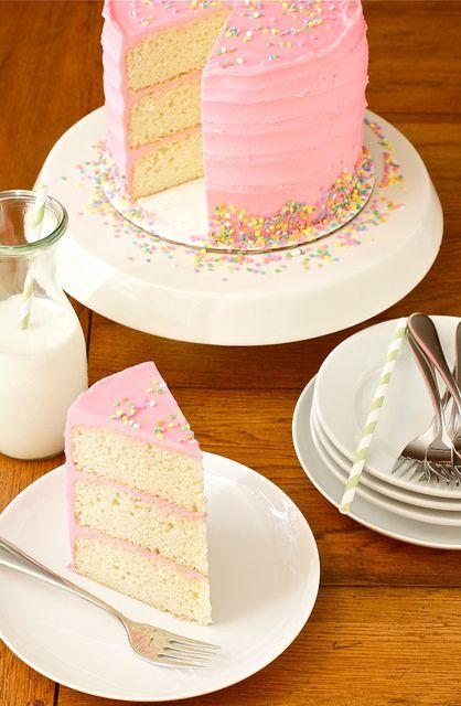Birthday CakeBeans Birthday, Pretty Cake, Birthday Cake Recipe, Pink Vanilla, Vanilla Beans, Pink Birthday, Buttercream Frosting, Birthday Cakes, Pink Cake