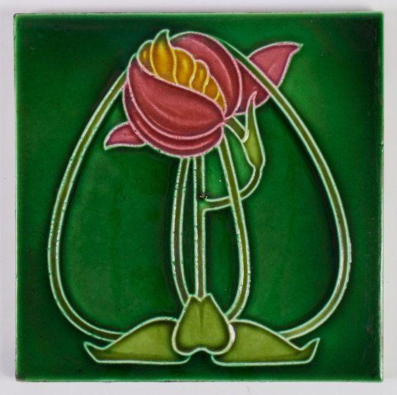 Art Nouveau Rhodes Tile Co. pottery tile attributed to George Logan. Glasgow Scottish. 3 available