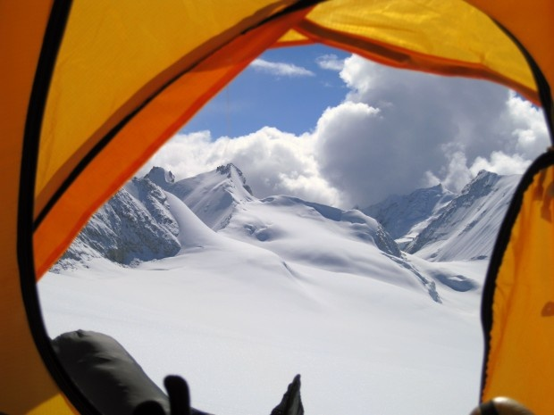"""The Mystical Mountain..""  A View from inside a tent at Mt. Makalu, Khumbu region of Nepal"