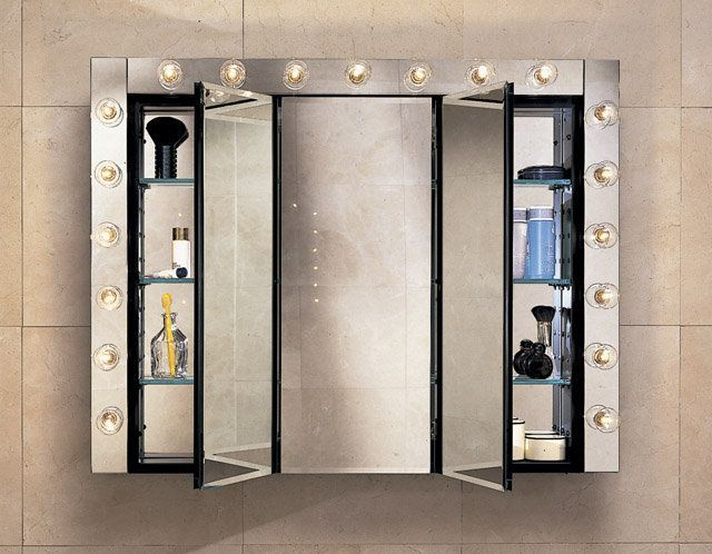 "Robern PLM3630W 36"" Triple Door Mirrored Medicine Cabinet White Bathroom Storage Medicine Cabinets Triple Door"