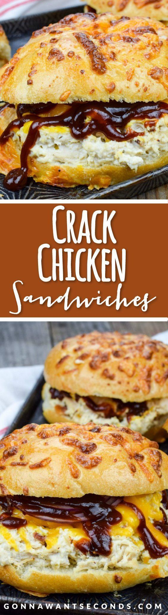 This super simple Crack Chicken recipe is cooked in the crockpot and makes the most amazing, creamy,  flavorful chicken filling for hearty sandwiches.