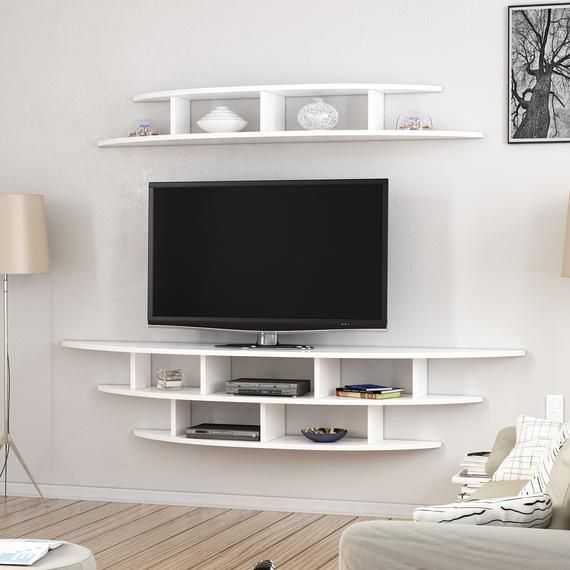 Alvino Wall Mounted Tv Unit Freestanding White Modern Wall