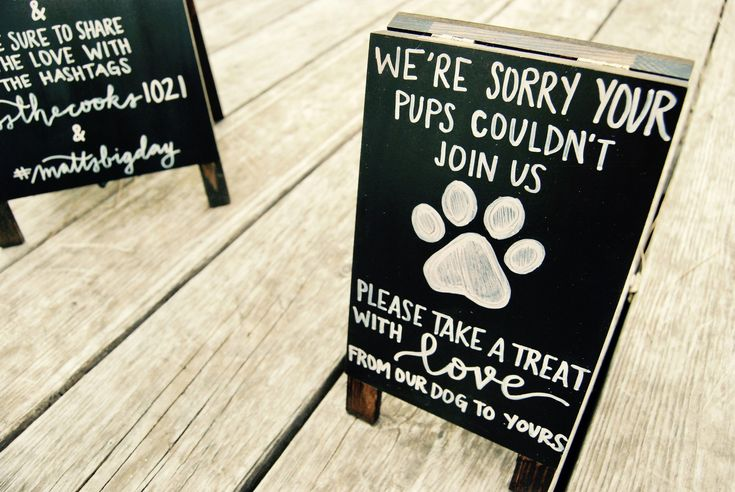 Canine Deal with Easel – Wedding ceremony Signal – Occasion Signal – Chalkboard Easel