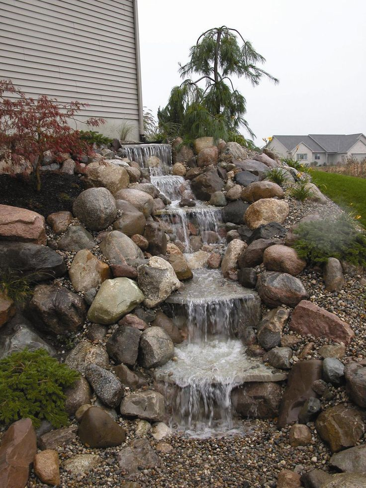 271 best fountains water features images on pinterest for Pictures of backyard waterfalls