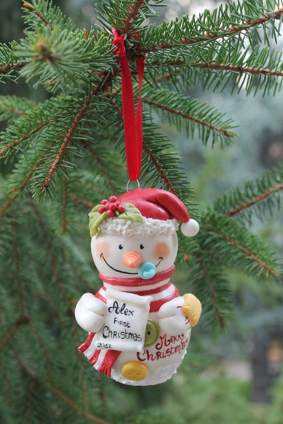 Handmade Christmas Gift Snowman Ornament Decoration Babys First Christmas Decoration Unique Christmas Tree Decor Polymer Clay Snowmen Xmas Gift Idea