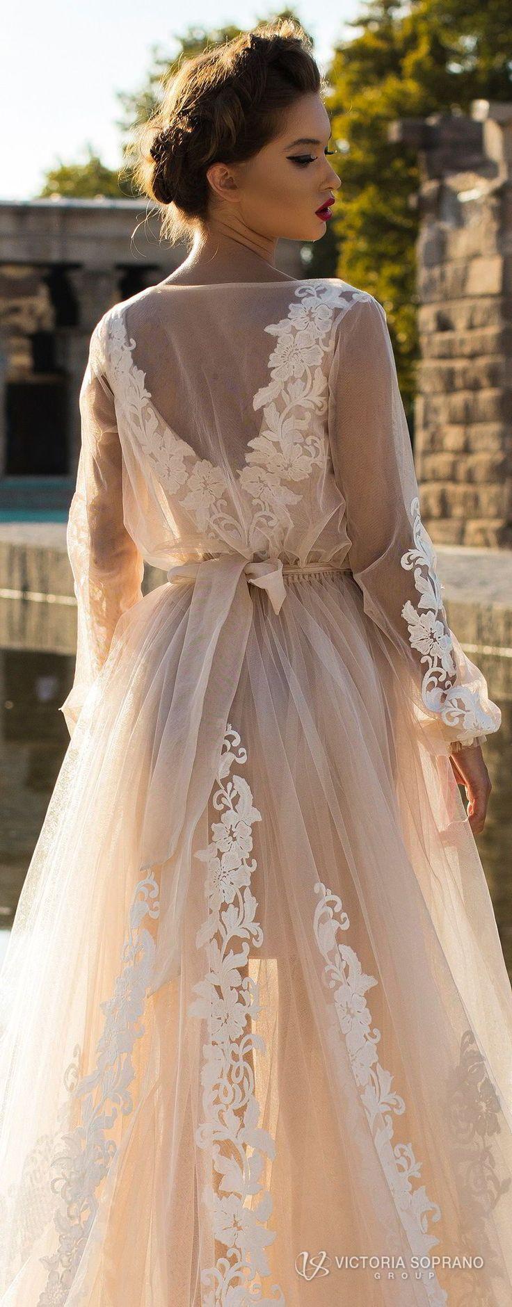 victoria soprano 2018 bridal long sleeves illuson bateau v neck light embellishment romantic blush color a line wedding dress sheer back sweep train (leila) zbv #weddingdress