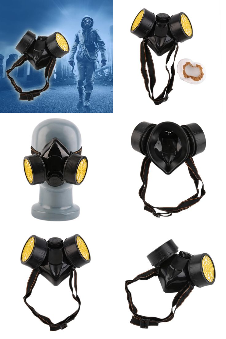 [Visit to Buy] Black Gas Mask Emergency Survival Safety Respiratory Gas Mask Anti Dust Paint Respirator Mask with 2 Dual Protection Filter #Advertisement