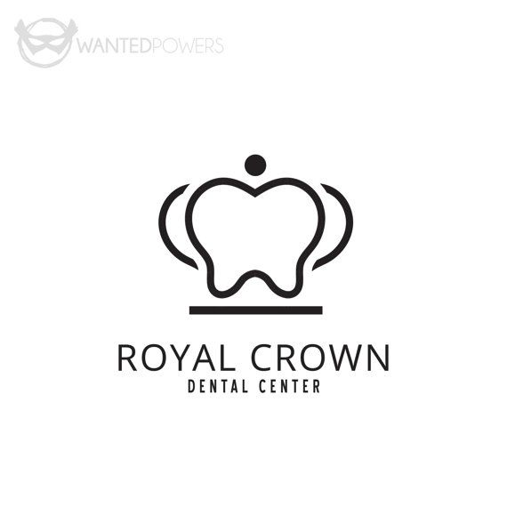 Custom Pre-Made Logo Design Tooth Crown by WantedPowersDesigns { Crown, Tooth, Dentist, Logo, Graphic Design, Dental Center, Royal