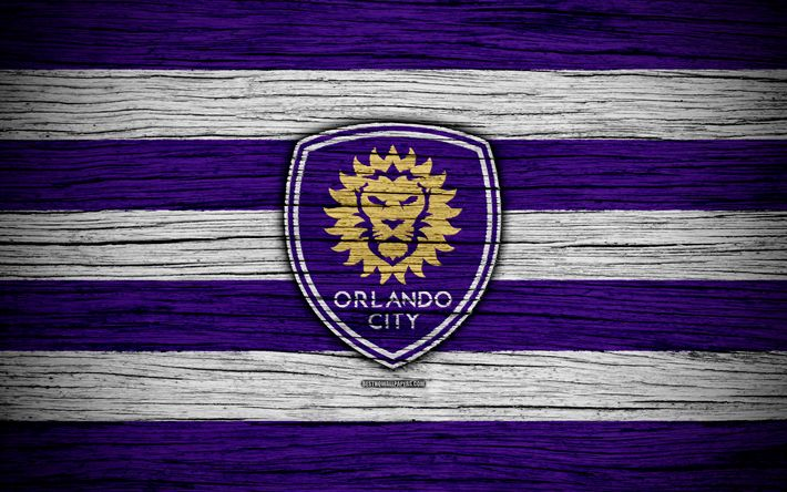Download wallpapers Orlando City, 4k, MLS, wooden texture, Eastern Conference, football club, USA, Orlando City FC, soccer, logo, FC Orlando City
