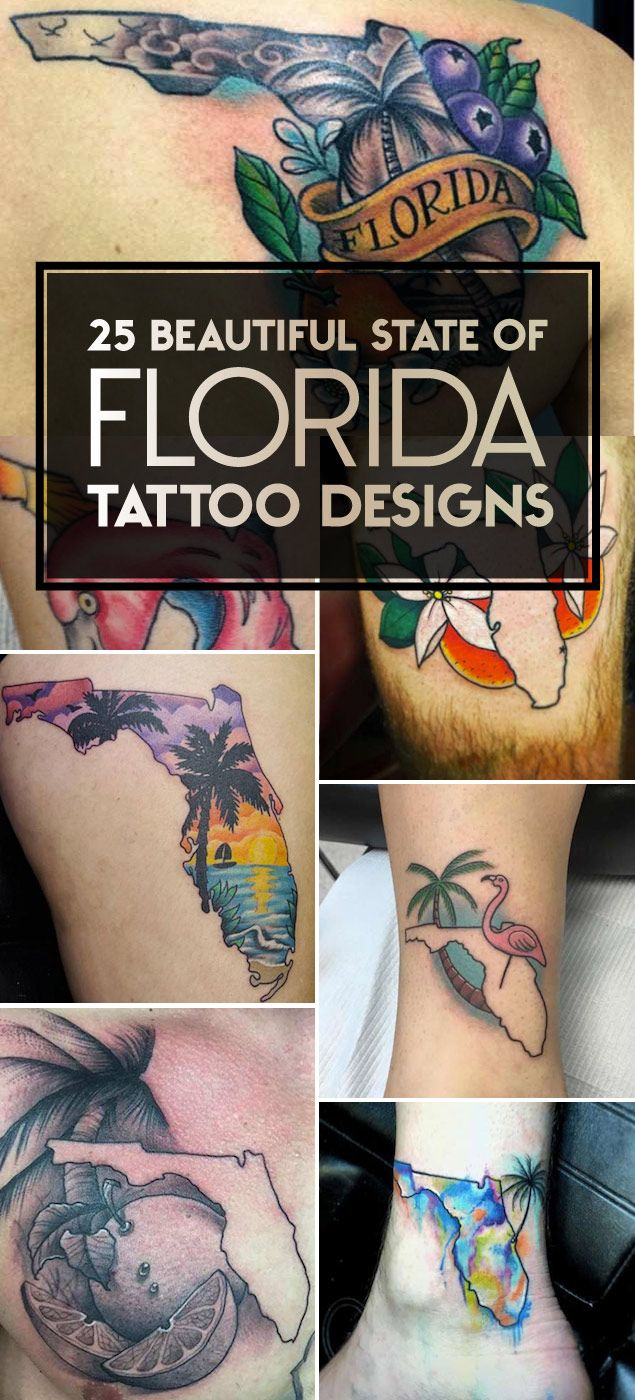 25 Beautiful State of Florida Tattoo Designs | TattooBlend