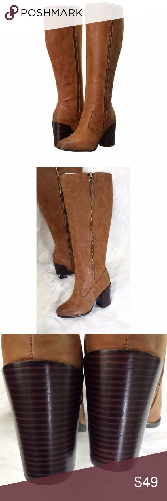 Tan Knee High Boots Tan knee high heeled boots with a burnished look.  Sturdy and doesn't get really slouchy/crumpled like other tall boots or riding boots. Only tried on.    Approximate measurements:  Circumference: 15 1⁄2 in Shaft: 19 in Platform Height: 1⁄4 in Sbicca Shoes Heeled Boots
