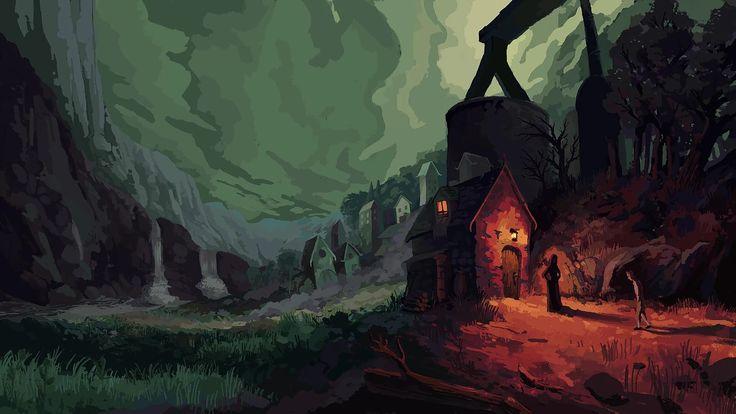 Digital painting of a moody scene.