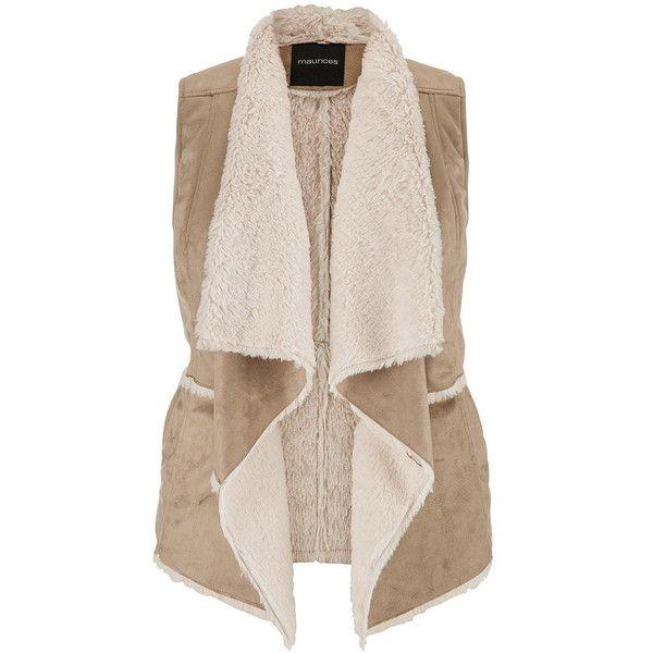 maurices Plus Size - Faux Suede Vest With Faux Fur Lining And Trim ($69) ❤ liked on Polyvore featuring outerwear, vests, beige, plus size, pink vest, vest waistcoat, beige vest, faux fur lined vest en plus size vest