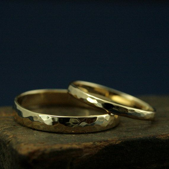 Hammered Gold Wedding Band4mm Wide Perfect by RevolutionBA on Etsy